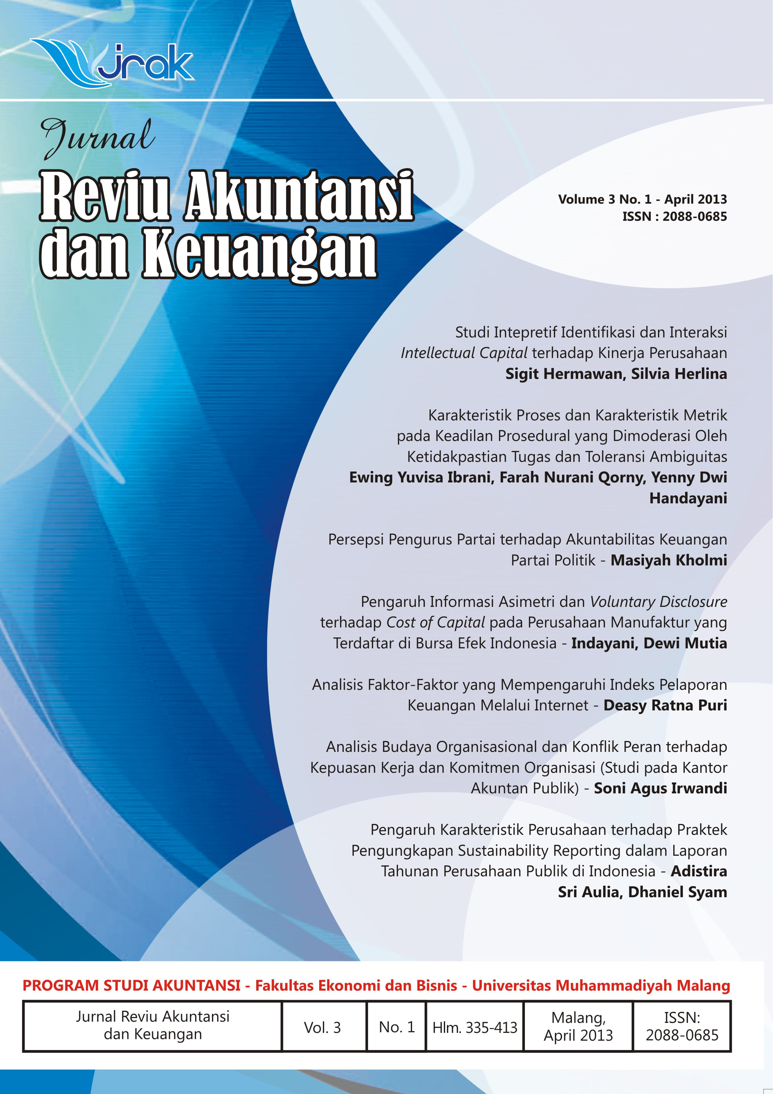View Vol. 3 No. 1: Jurnal Reviu Akuntansi dan Keuangan