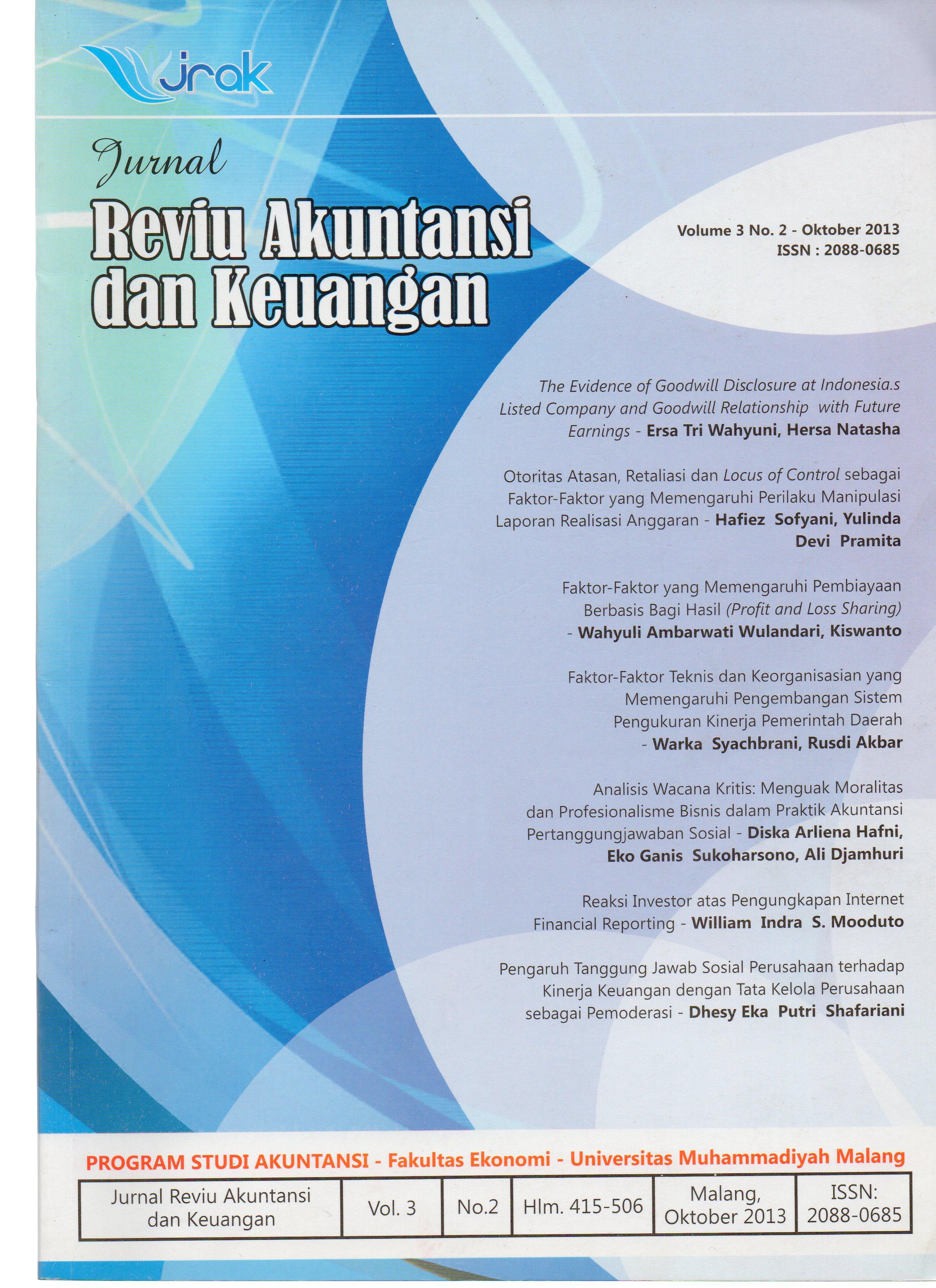 View Vol. 3 No. 2: Jurnal Reviu Akuntansi dan Keuangan