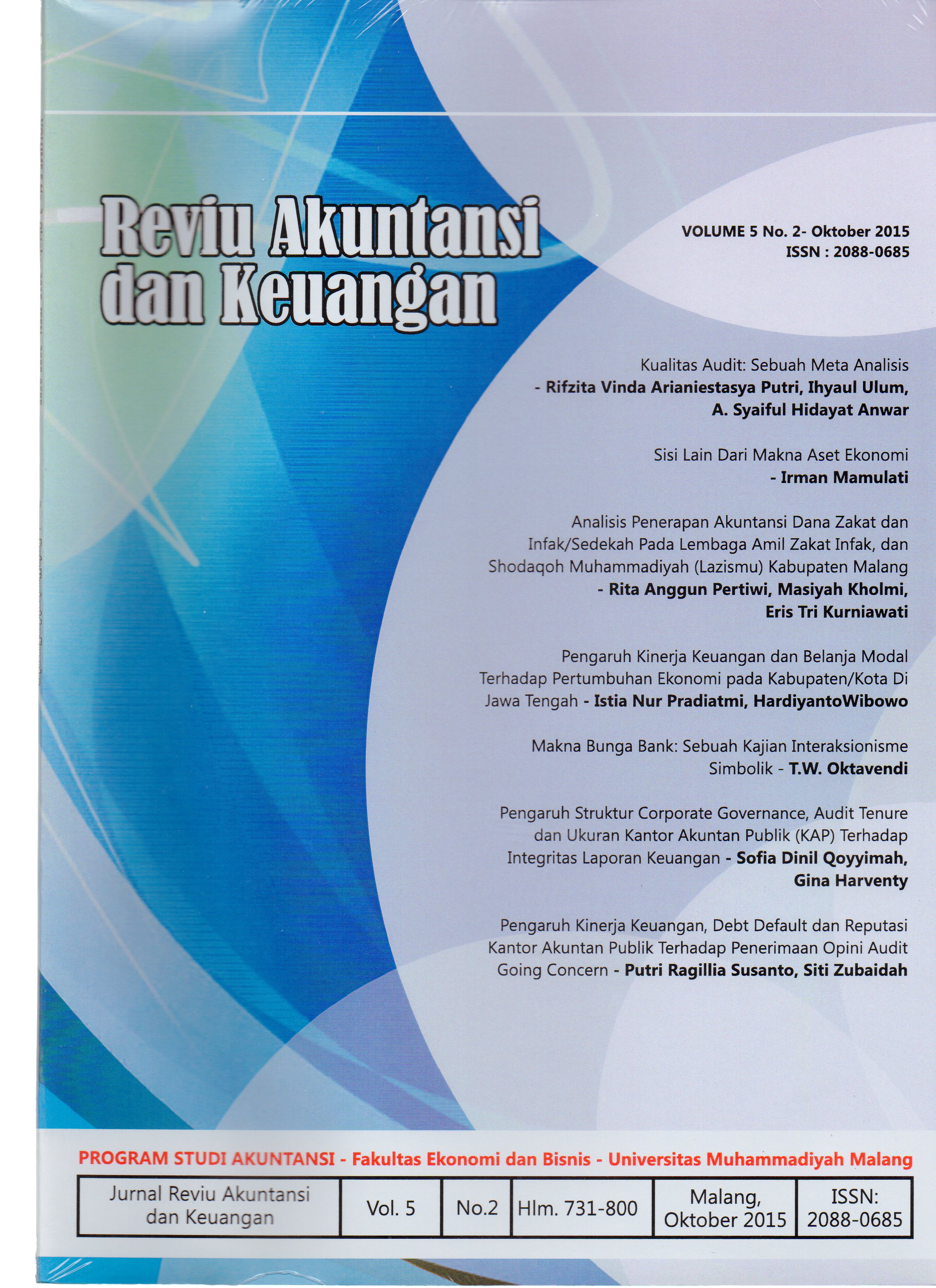 View Vol. 5 No. 2: Jurnal Reviu Akuntansi dan Keuangan