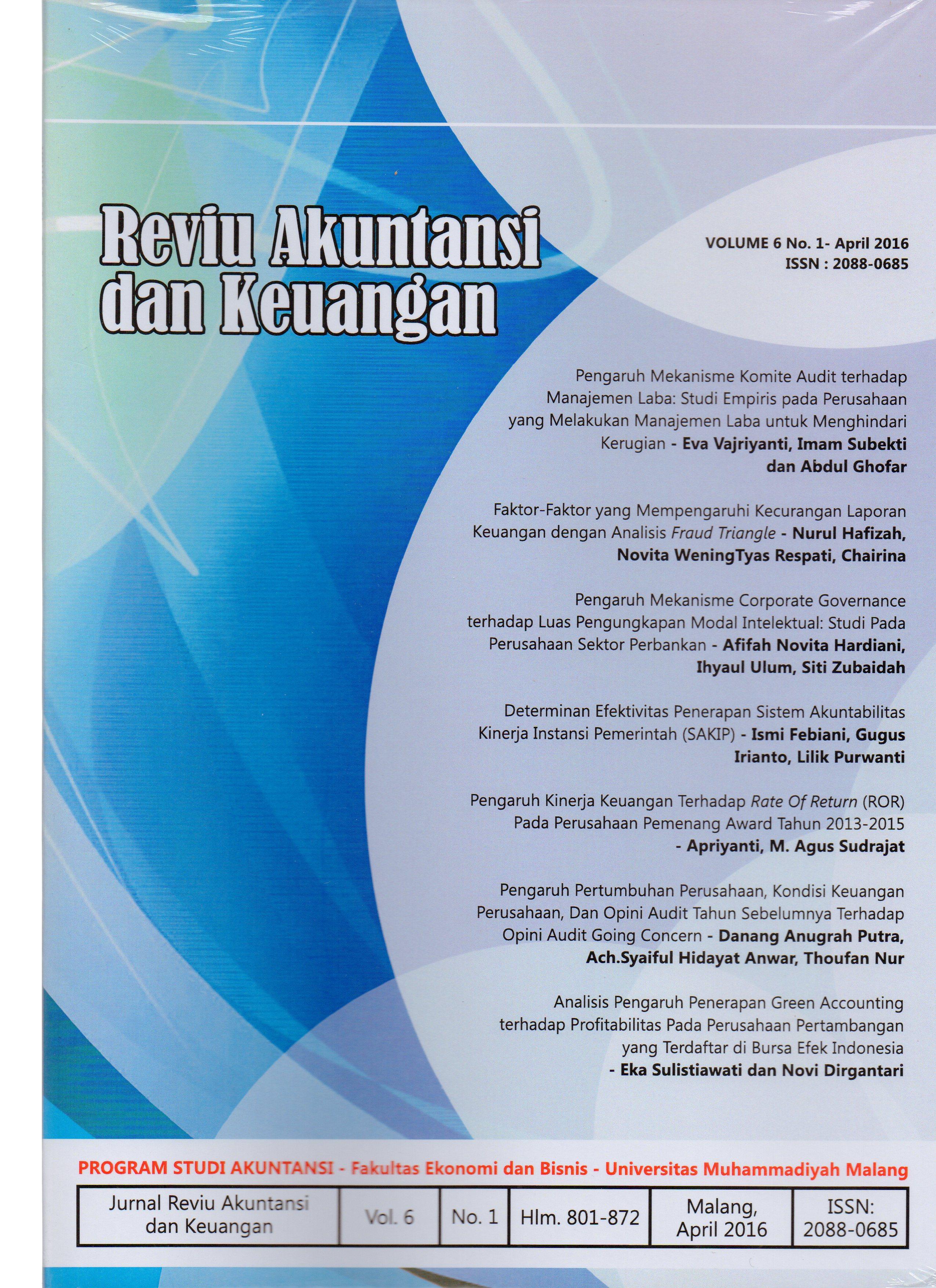 View Vol. 6 No. 1: Jurnal Reviu Akuntansi dan Keuangan