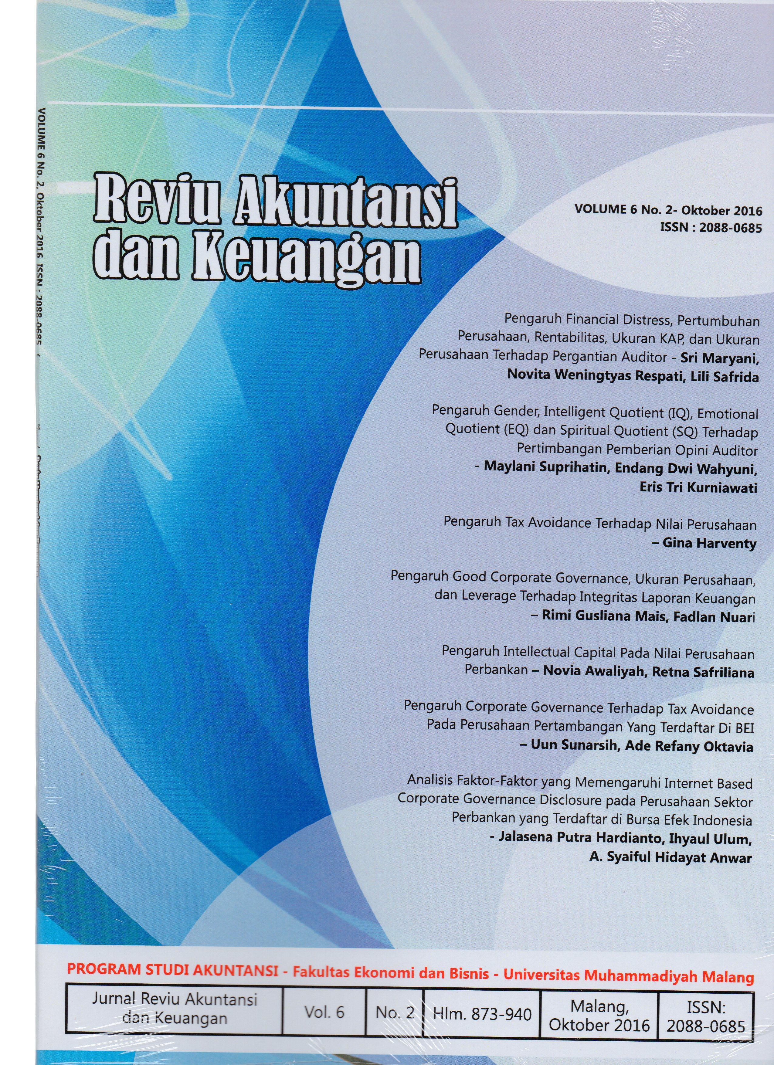 View Vol. 6 No. 2: Jurnal Reviu Akuntansi dan Keuangan