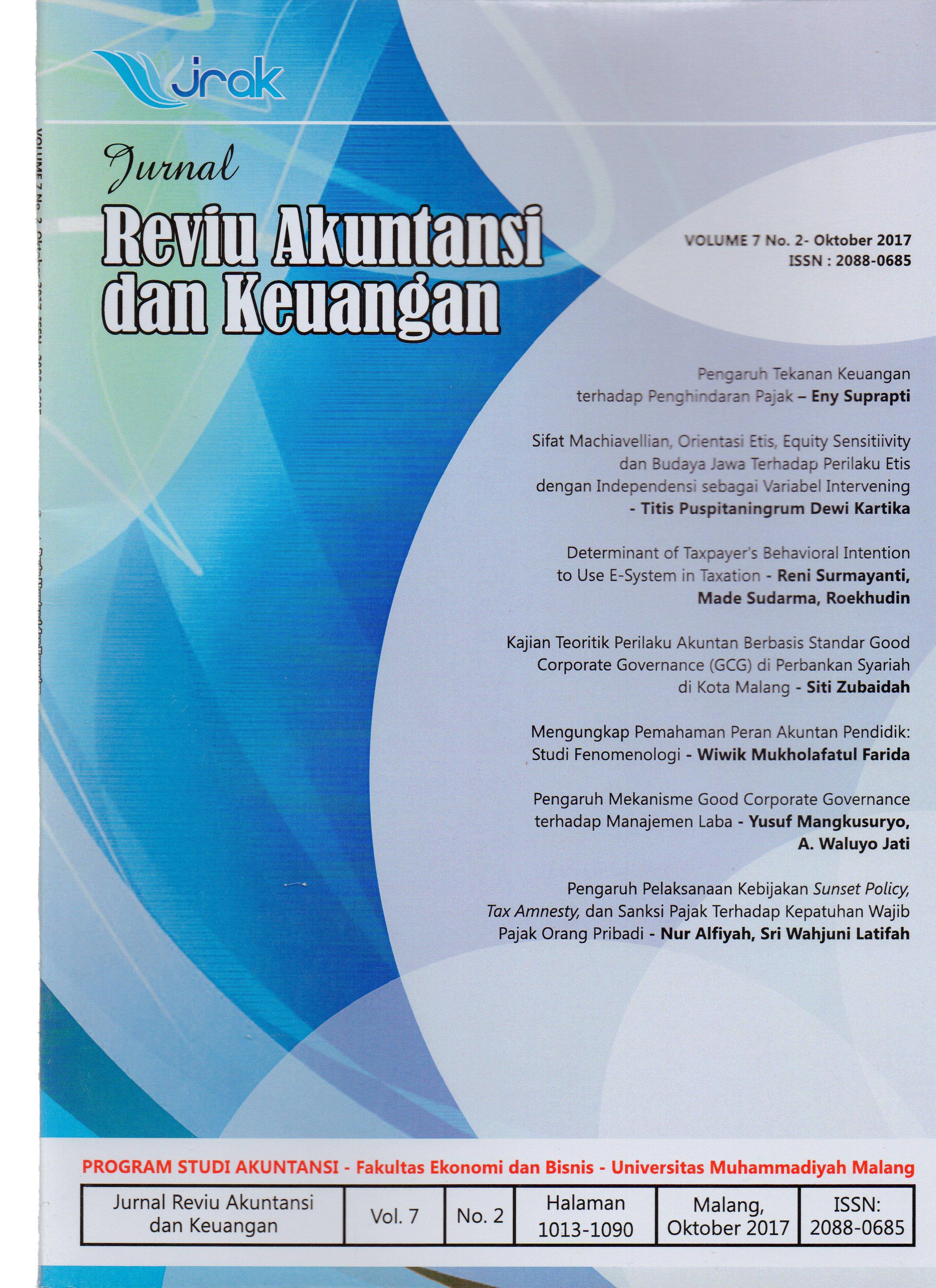 View Vol. 7 No. 2: Jurnal Reviu Akuntansi dan Keuangan