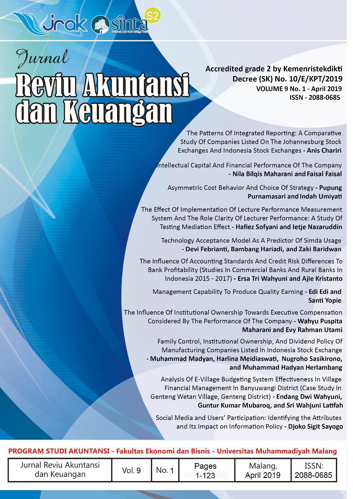 View Vol. 9 No. 1: Jurnal Reviu Akuntansi dan Keuangan