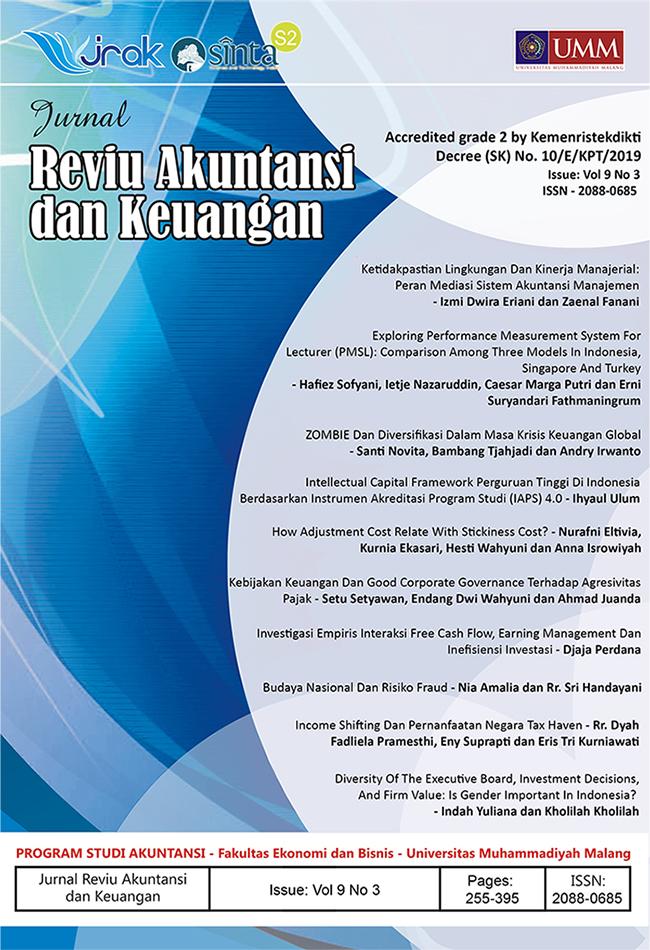 View Vol. 9 No. 3: Jurnal Reviu Akuntansi Dan Keuangan