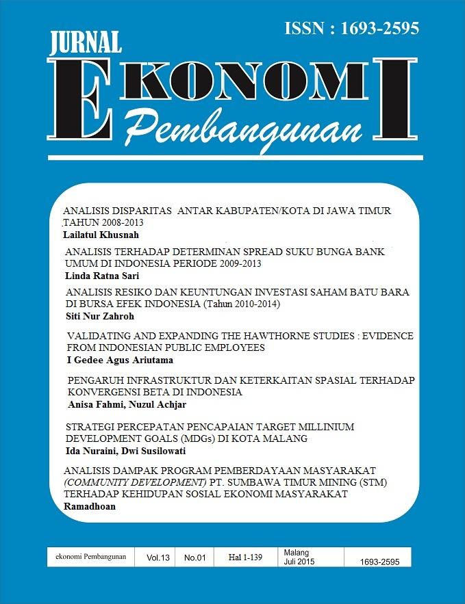 Analisis Terhadap Determinan Spread Suku Bunga Bank Umum Di Indonesia Periode 2009 2013 Jurnal Ekonomi Pembangunan