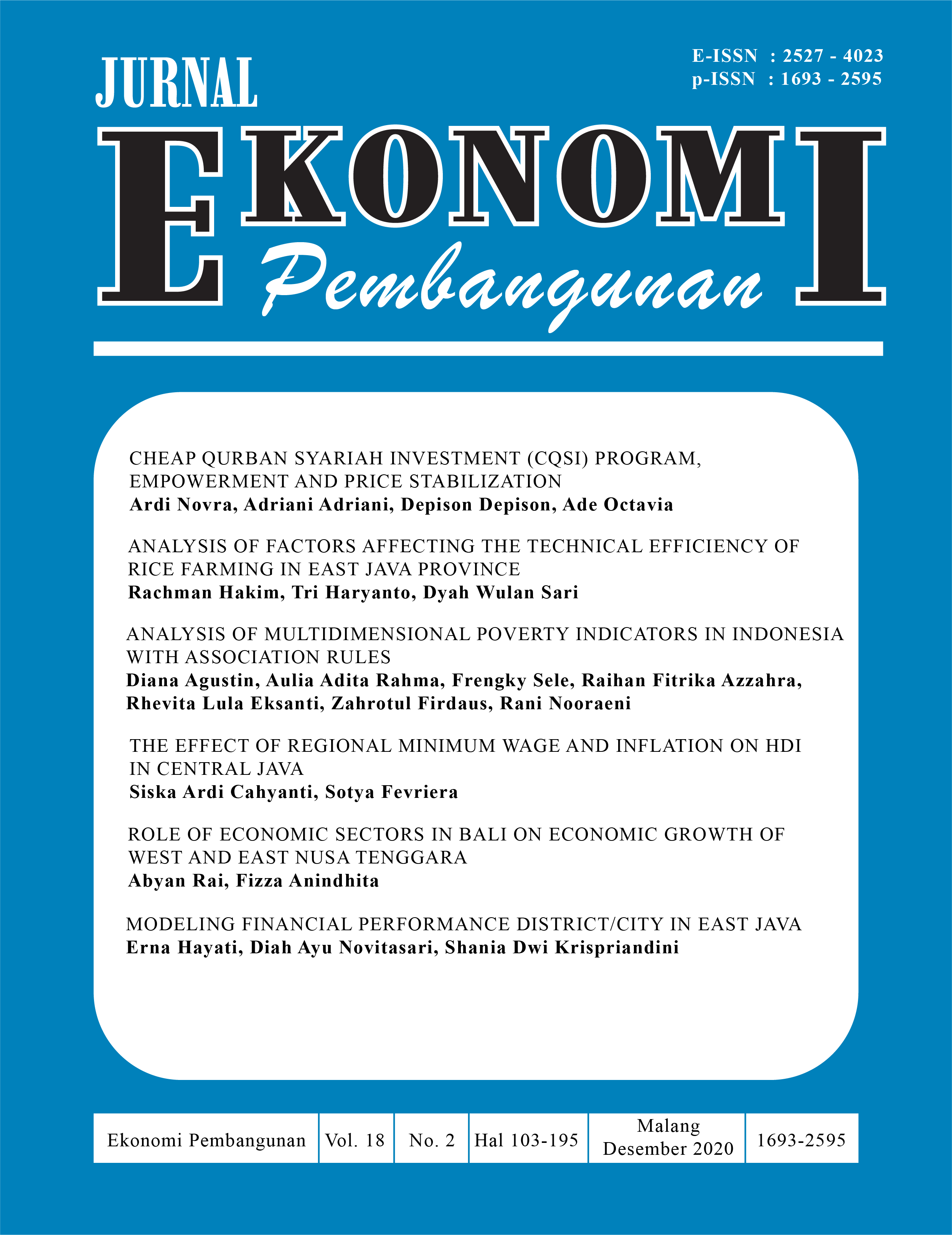 View Vol. 18 No. 2 (2020): JURNAL EKONOMI PEMBANGUNAN