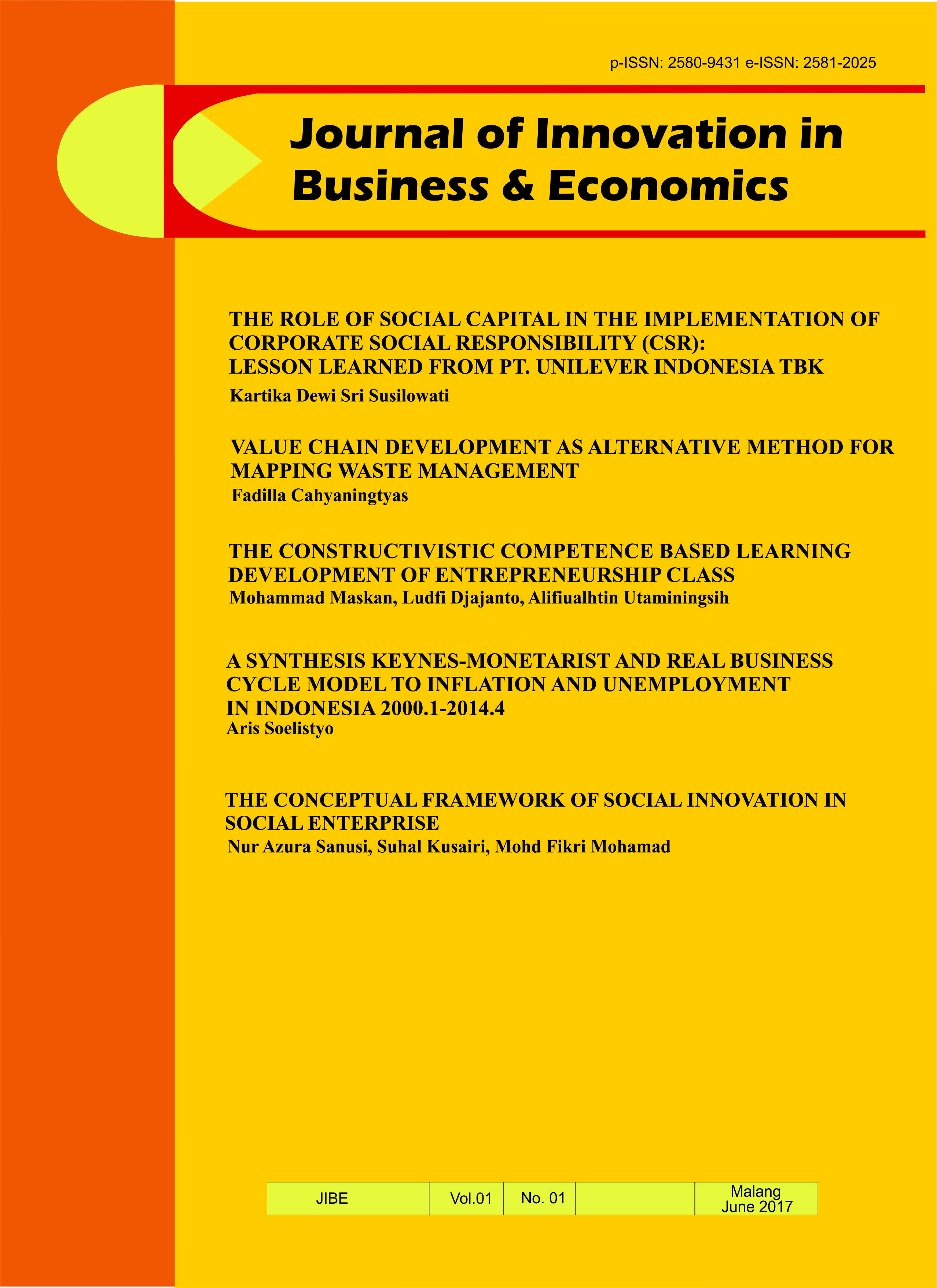 View Vol. 1 No. 01 (2017): Journal of Innovation in Business and Economics