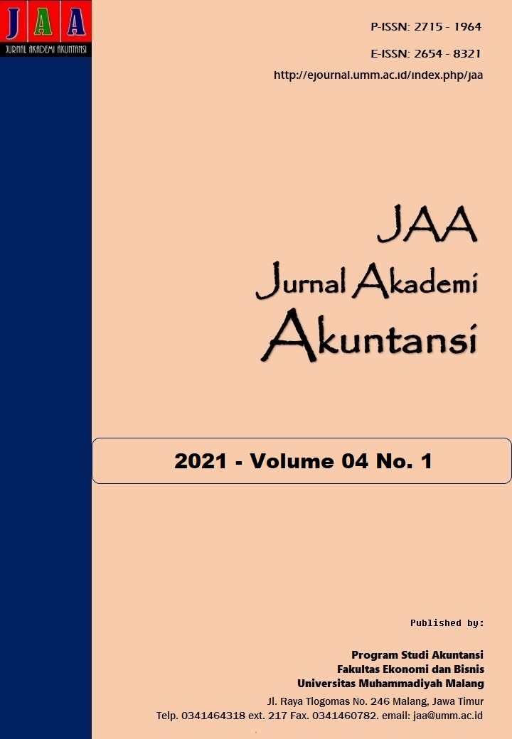 View Vol. 4 No. 1 (2021): Jurnal Akademi Akuntansi (JAA)