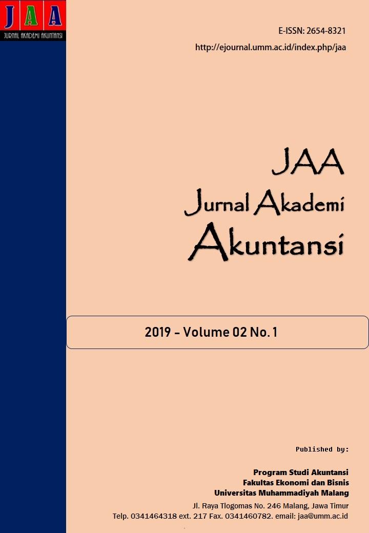 View Vol. 2 No. 1 (2019): Jurnal Akademi Akuntansi (JAA)