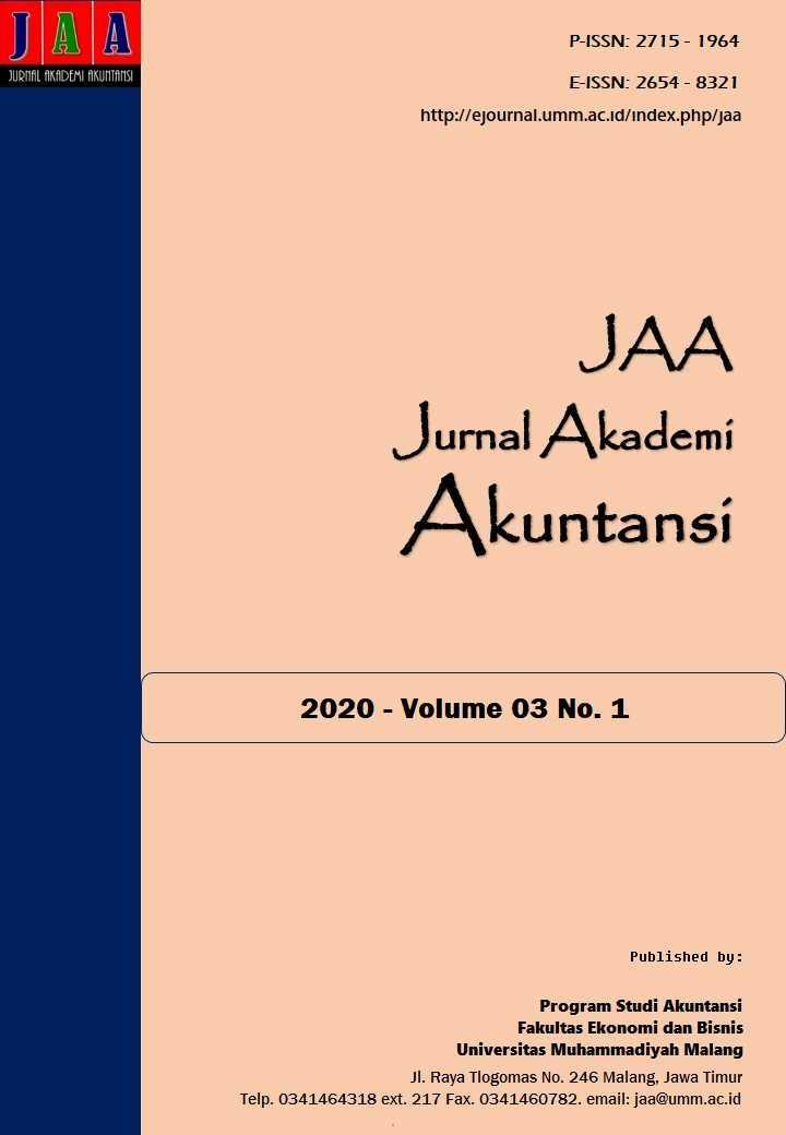 View Vol. 3 No. 1 (2020): Jurnal Akademi Akuntansi (JAA)