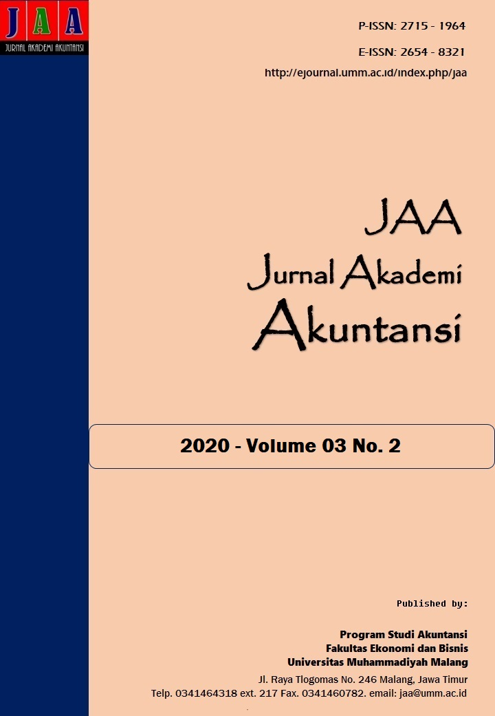 View Vol. 3 No. 2 (2020): Jurnal Akademi Akuntansi (JAA)